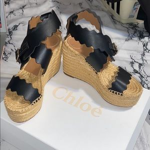 Chloé Lauren Scalloped Espadrille wedge